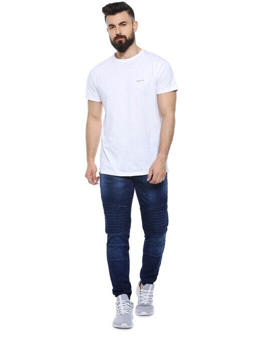 Shop Men Slim Fit Solid Stretch Stylish New Trends Blue Denim Jeans-Full