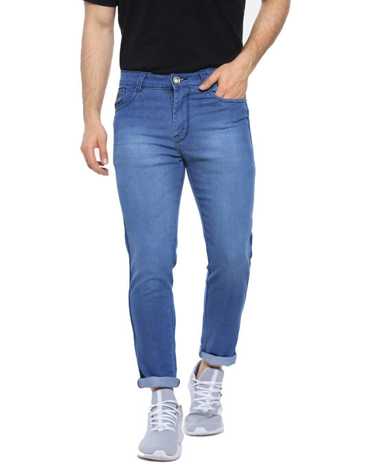 Shop Men Slim Fit Solid Stretch Stylish New Trends Blue Denim Jeans-Front