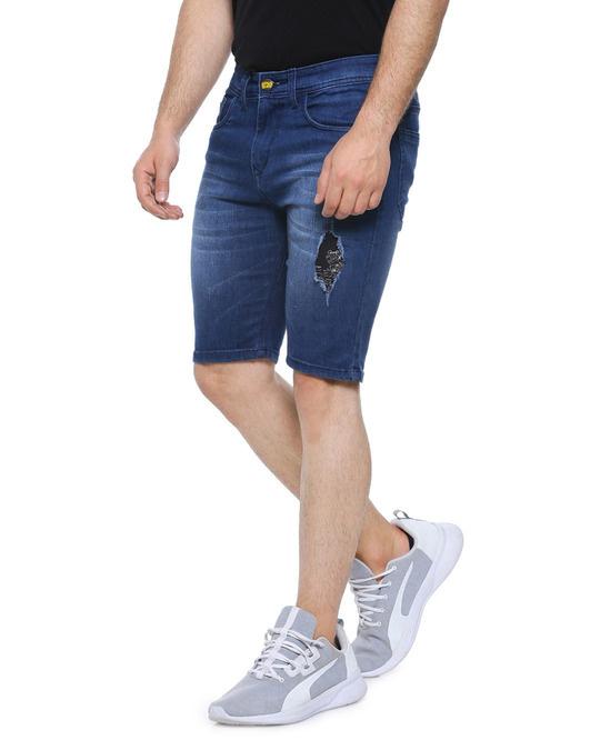 Shop Men Slim Fit Solid Stretch Stylish New Trends Blue Denim Shorts-Back