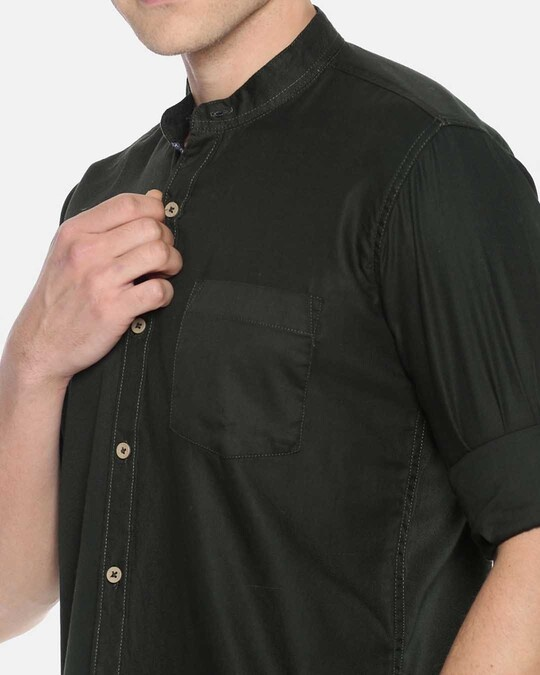 Shop Campus Sutra Men Solid Full Sleeve Chinese Collar Stylish Casual Shirts