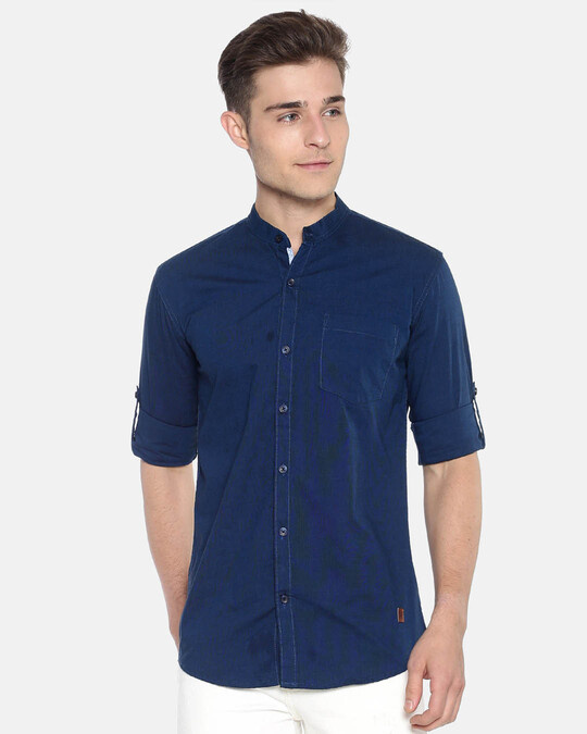 Shop Campus Sutra Men Solid Full Sleeve Chinese Collar Stylish Casual Shirts-Front