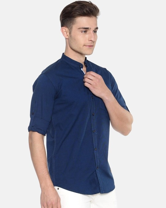 Shop Campus Sutra Men Solid Full Sleeve Chinese Collar Stylish Casual Shirts-Back