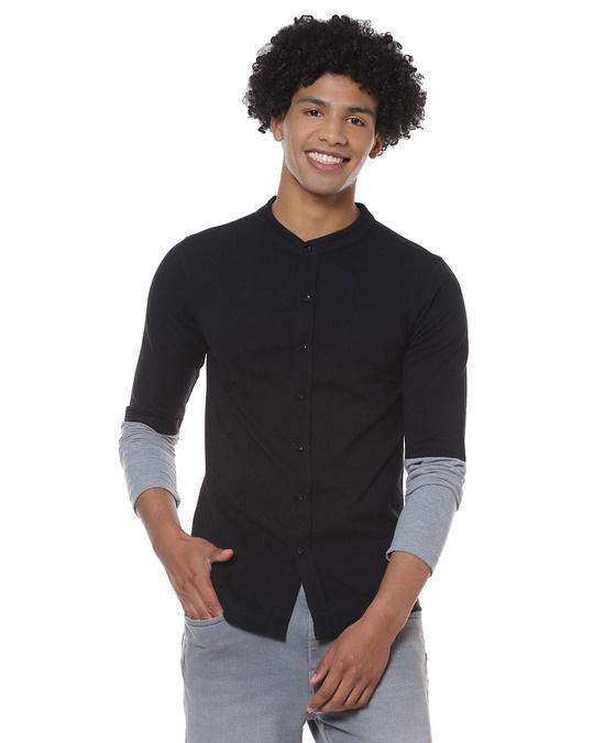 Shop Men Solid Stylish New Trends Casual Mandarin Shirt-Front