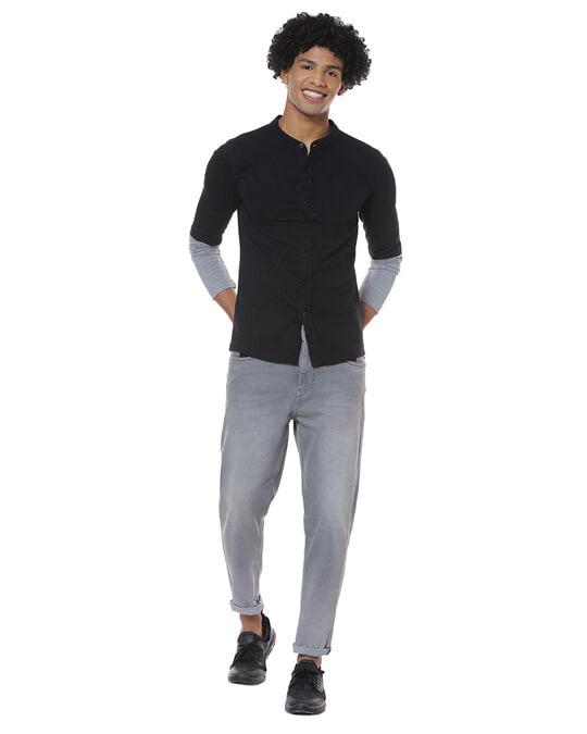 Shop Men Solid Stylish New Trends Casual Mandarin Shirt-Full