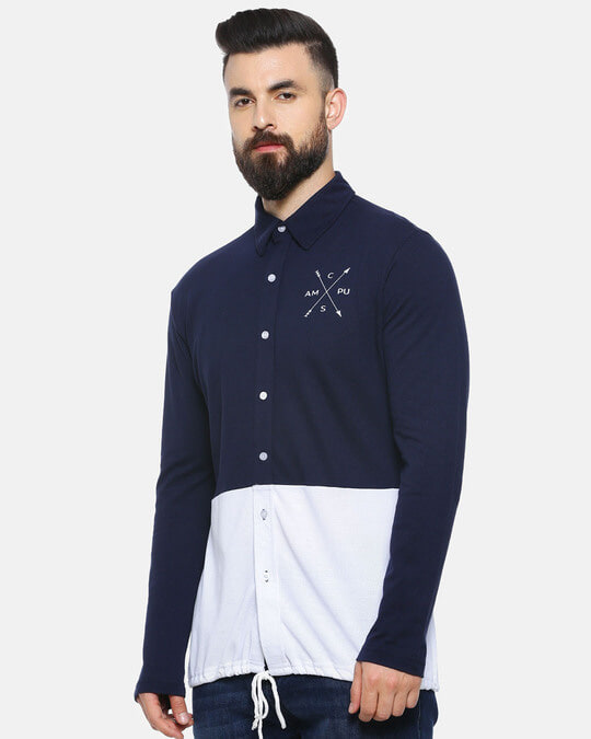 Shop Men Solid Stylish New Trends Casual Spread Shirt-Back