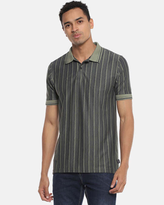 Shop Men Striped Stylish Casual Polo T Shirt-Front
