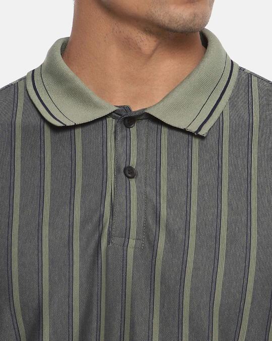 Shop Men Striped Stylish Casual Polo T Shirt