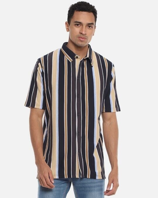 Shop Men Striped Stylish Half Sleeve Casual Shirts-Front