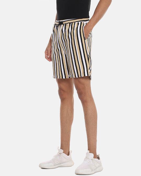 Shop Men Striped Stylish Sports & Evening Shorts-Back