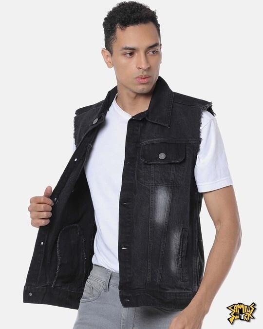 Shop Campus Sutra Men Stylish Casual Denim Jacket-Front