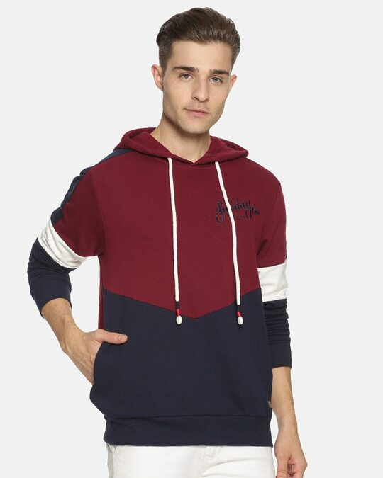 Shop Men Stylish Color Blocked Casual Hooded Sweatshirts-Front