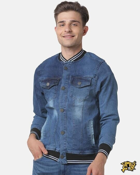 Shop Campus Sutra Men Stylish Full Sleeve Denim Jacket-Front