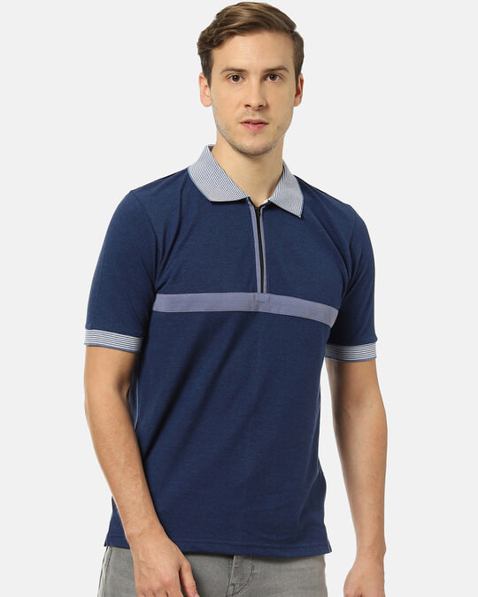 Shop Men Stylish Solid Polo Neck Casual T Shirt-Front