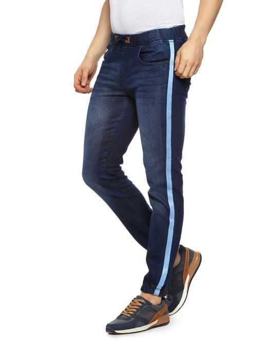 Shop Slim Men Dark Black Jeans-Back