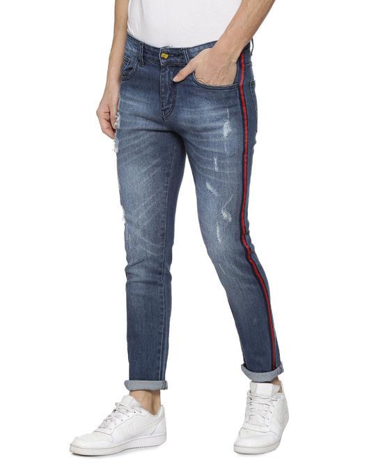 Shop Slim Men  Navy Blue Jeans-Back