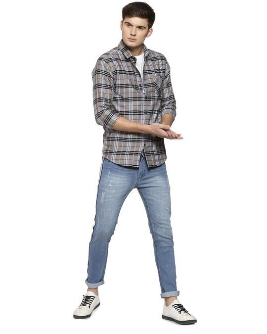 Shop Slim Men Side Stripe  Blue Jeans-Front