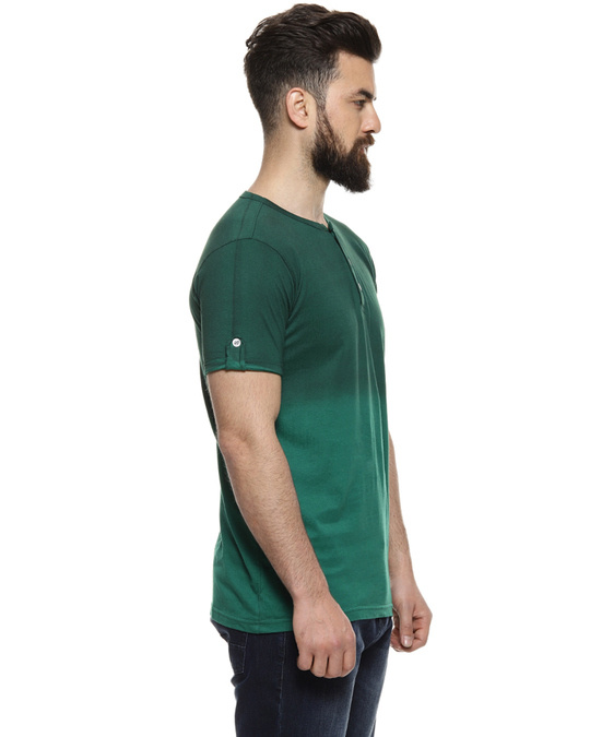 Shop Solid Men Henley Neck Green Casual Stylish Casual T Shirt-Back