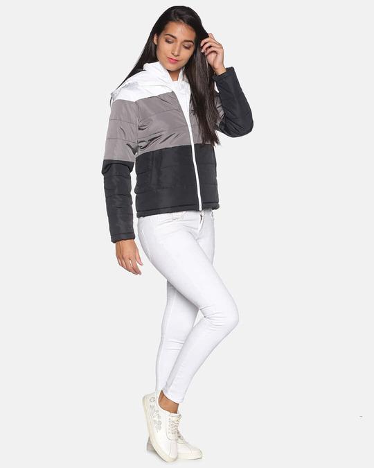 Shop Women Colorblock Stylish Casual Bomber Jacket-Full