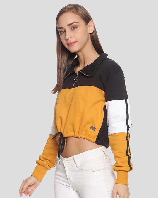 Shop Women Crop Stylish Casual Sweatshirt-Back