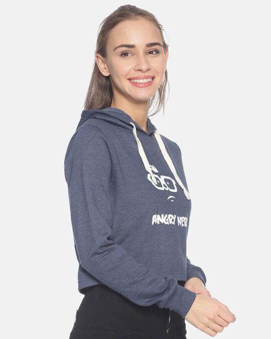 Shop Women Crop Stylish Hooded Sweatshirt-Back