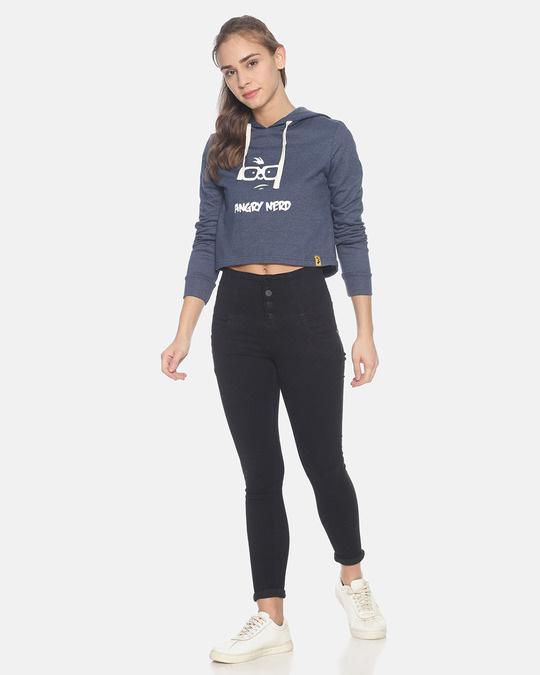 Shop Women Crop Stylish Hooded Sweatshirt