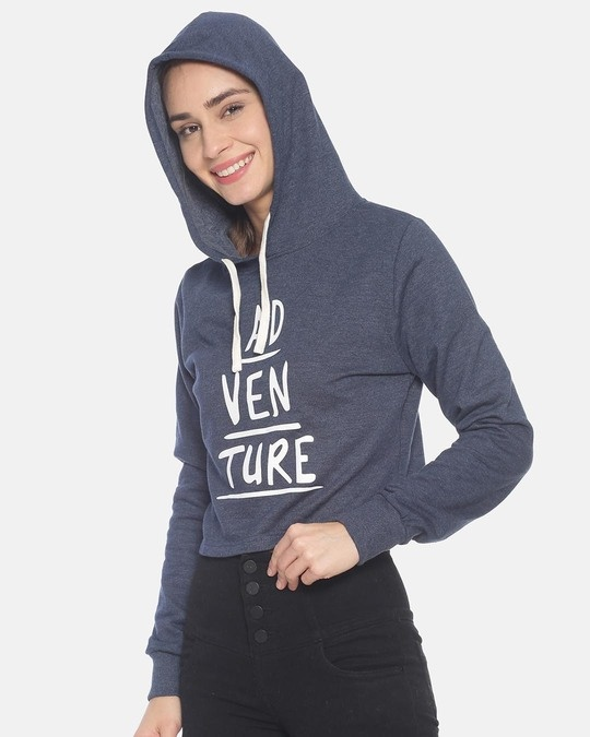 Shop Women Crop Stylish Hooded Sweatshirt-Design