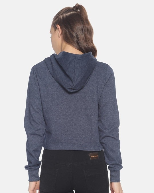Shop Women Crop Stylish Hooded Sweatshirt-Full