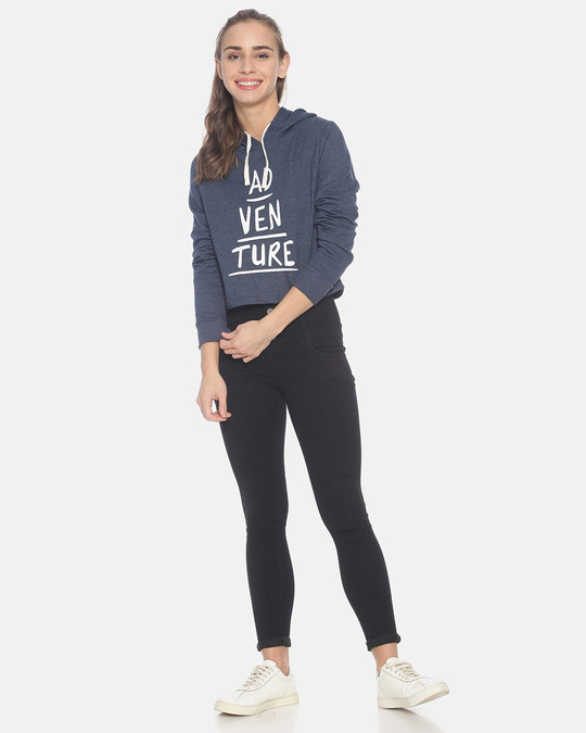 Shop Women Crop Stylish Hooded Sweatshirt