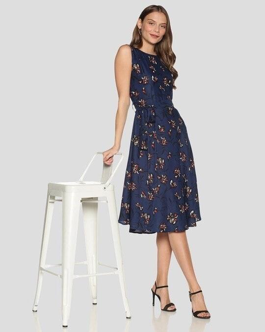 Shop Women Floral Design Stylish Casual Dress-Full