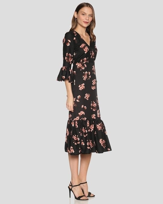 Shop Women Floral Design Stylish Casual Dress-Back