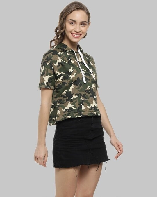 Shop Women Military Camouflage Stylish Hooded Casual Green Tops-Back