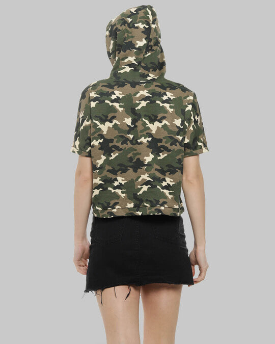 Shop Women Military Camouflage Stylish Hooded Casual Green Tops-Design