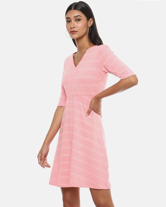 Shop Women Pink Stylish A Line Dress-Back