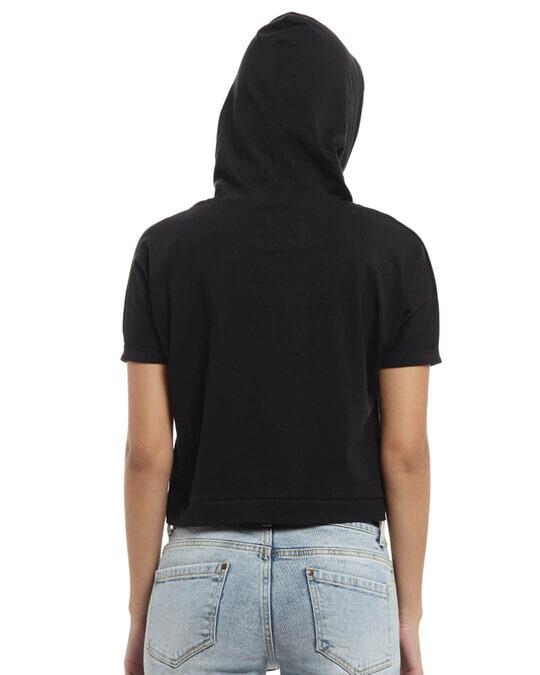 Shop Women Printed Stylish Black Casual Crop Top-Design