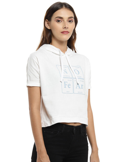 Shop Women Printed Stylish White Casual Crop Top-Back