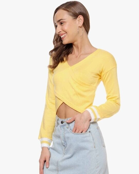 Shop Women Solid Full Sleeve Casual Top-Back