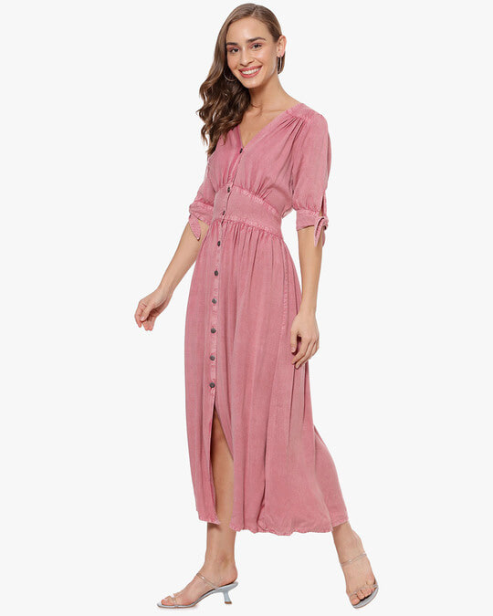 Shop Women Solid Stylish Casual Long Dress Dress-Back