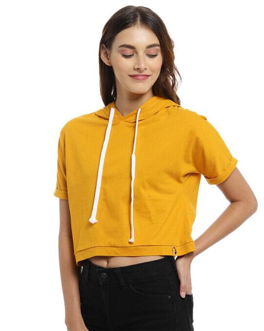 Shop Women Solid Stylish Mustard Casual Crop Top-Back