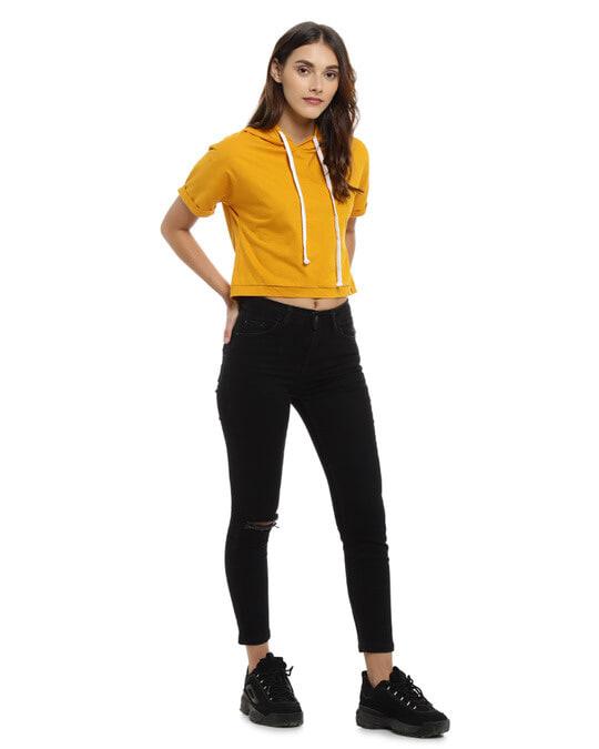 Shop Women Solid Stylish Mustard Casual Crop Top-Full