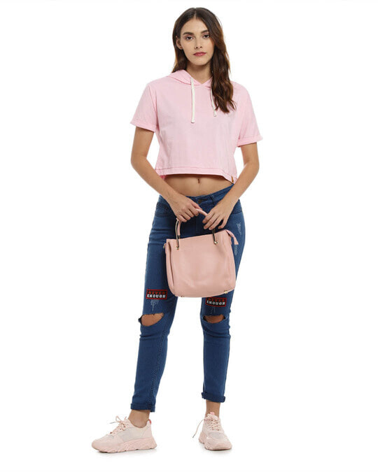 Shop Women Solid Stylish Pink Casual Crop Top