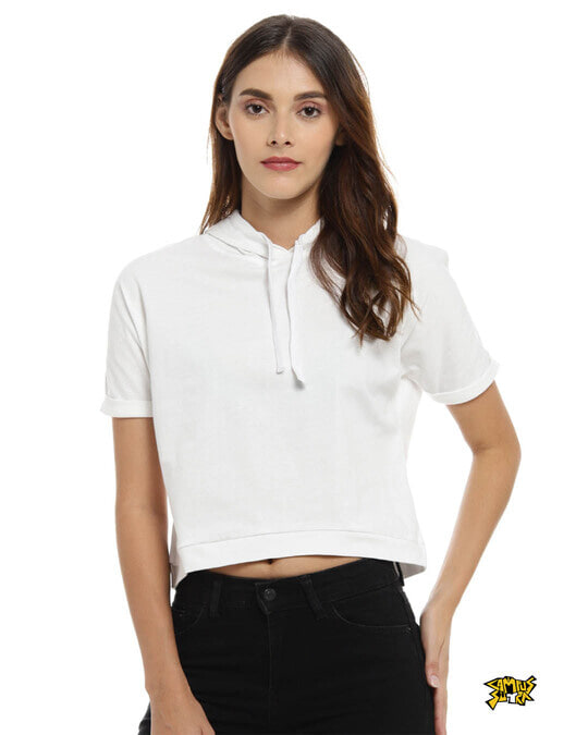 Shop Women Solid Stylish White Casual Crop Top-Front