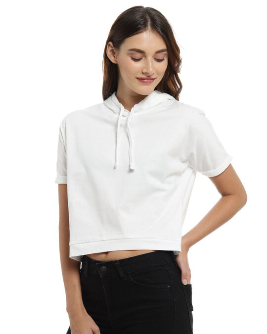 Shop Women Solid Stylish White Casual Crop Top-Back