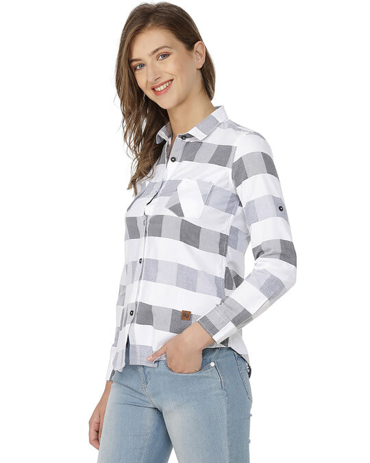 Shop Women Stylish Checkered Casual Shirts-Back