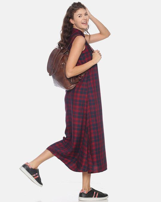 Shop Women Stylish Checks Long Casual Dress-Back