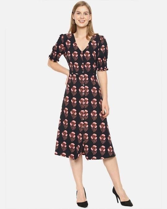 Shop Women Stylish Floral Design Casual Dresses-Front