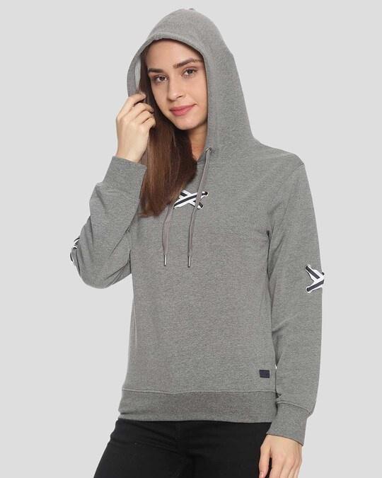 Shop Campus Sutra Women Stylish Hooded Sweatshirt-Back