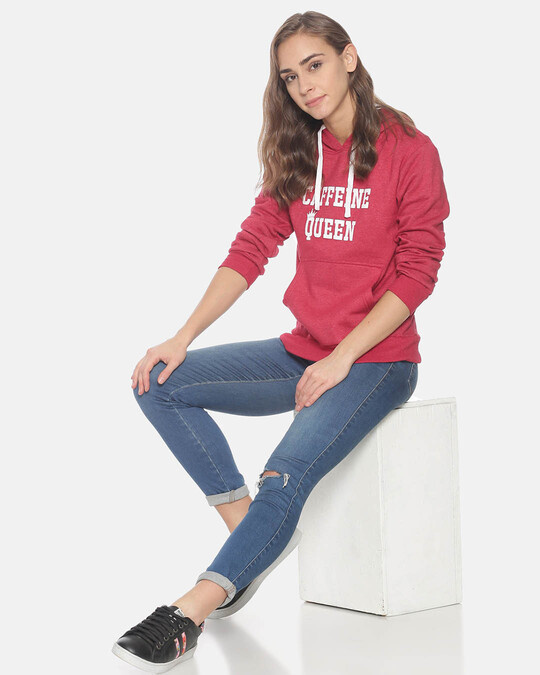 Shop Campus Sutra Women Stylish Printed Hooded Sweatshirt