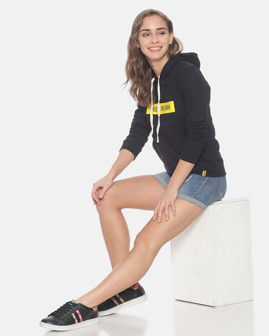 Shop Women Stylish Printed Hooded Sweatshirt