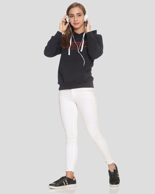 Shop Campus Sutra Women Stylish Printed Hooded Sweatshirt-Full