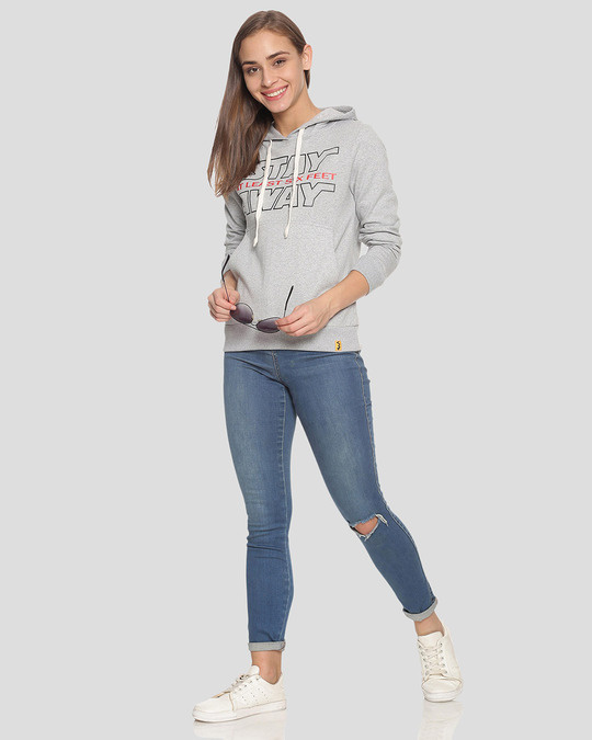 Shop Women Stylish Printed Hooded Sweatshirt-Full